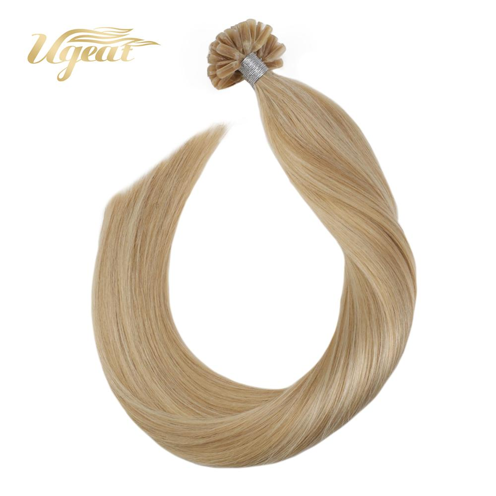 Ugeat Nail Tip Hair Extensions Pre-Bond Hair Brazilian Human Hair 14-24