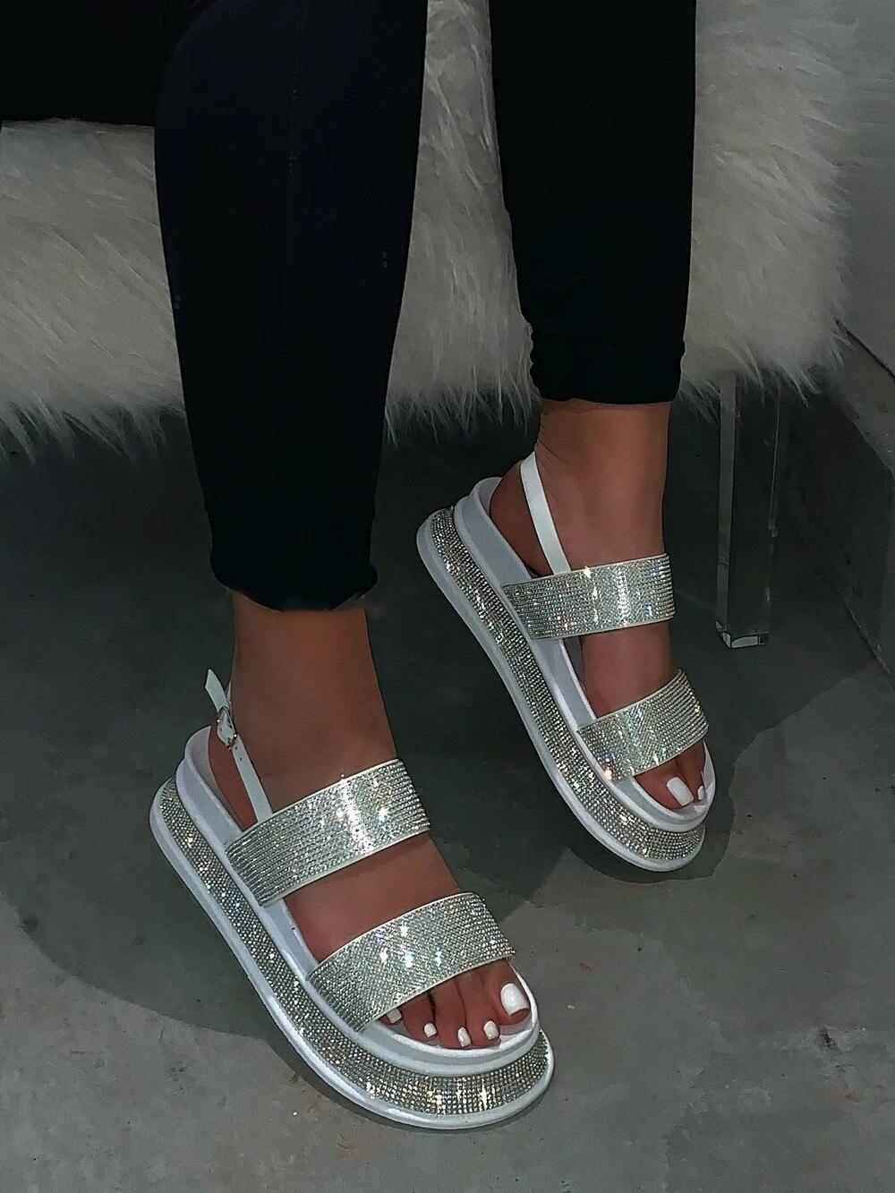 Vertvie/летние пляжные шикарные женские сандалии в римском стиле с кристаллами; Женские босоножки на танкетке со стразами и вырезами; Женская о...