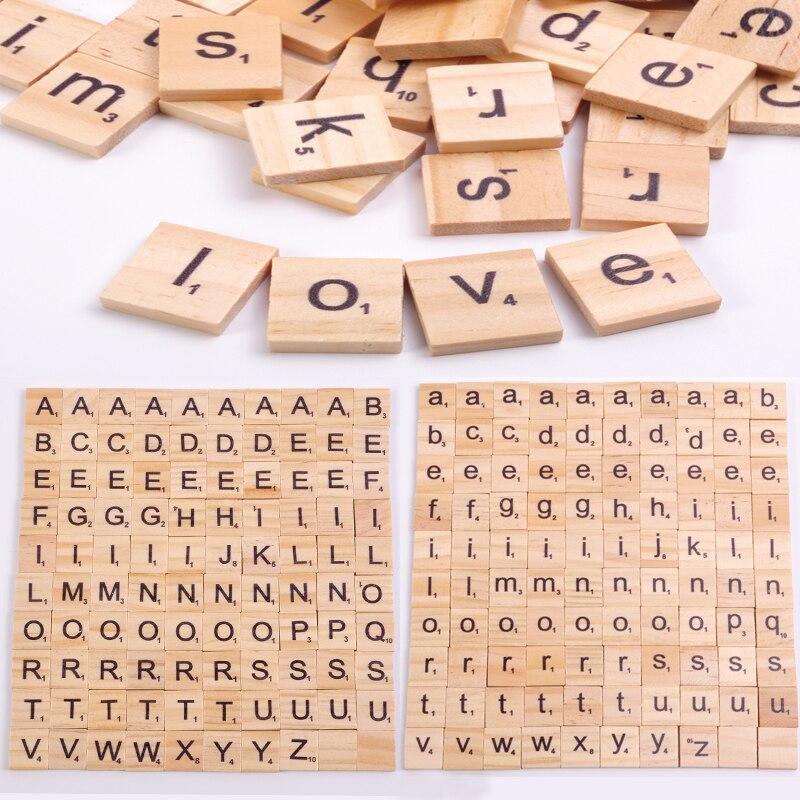 100 adet ahşap Scrabble fayans mektup alfabe Scrabbles numarası zanaat ahşap İngilizce kelimeler dijital bulmaca