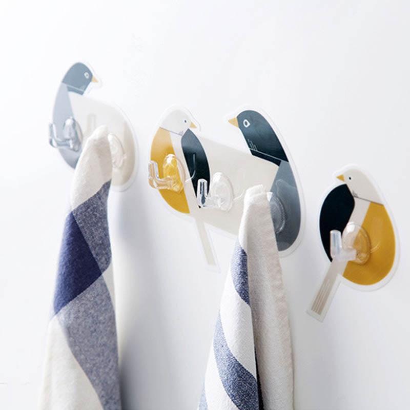 PVC Wall Hanger Cute Bird Pattern Self-adhesive Door Behind Hook Portable Nail-free Home Decor Space-saving Multifunction
