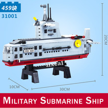 31001 City Military Battle Ship Model Building Blocks Compatible Aircrafted DIY Carrier Warship Submarine Boat Toys(China)