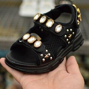 Czarne białe sandały dziewczęce duże cyrkonie dziecięce buty modne nastolatki sandały księżniczka z wystającym palcem odkryte dziecięce buty rozmiar 26-37