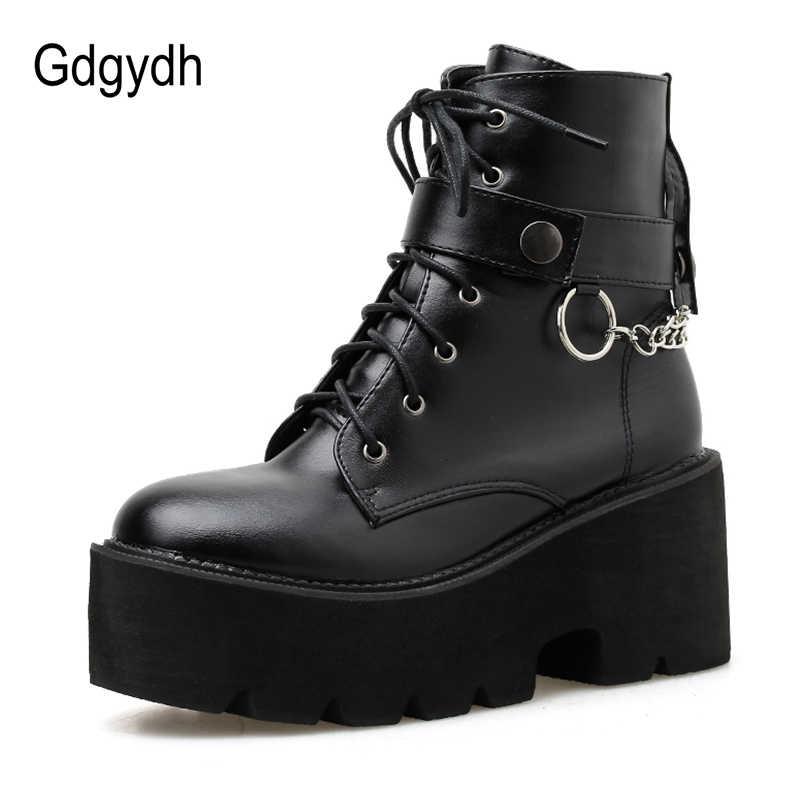 Gdgydh nouvelle chaîne Sexy femmes en cuir automne bottes bloc talon gothique noir Style Punk chaussures à plate-forme chaussures femme de haute qualité
