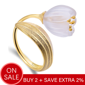 Image 2 - Lotus Fun Real 925 Sterling Silver 18k Gold Ring Natural Crystal Handmade Fine Jewelry Lily of the Valley Flower Rings For Women