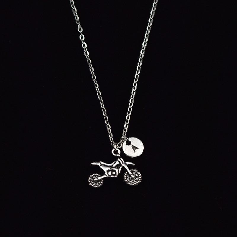 New Antique Dirt Bike Charm 26 Letter A Z Lettering Necklace Motorcycle Pendant Women Men Lover Biker Gifts Rock Jewelry Pendant Necklaces  - AliExpress