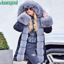 CHAMSGEND 2019 mujeres parka abrigos de lujo de piel grande cuello con capucha abrigo cálido piel de zorro forro parkas largo chaqueta de invierno top calidad