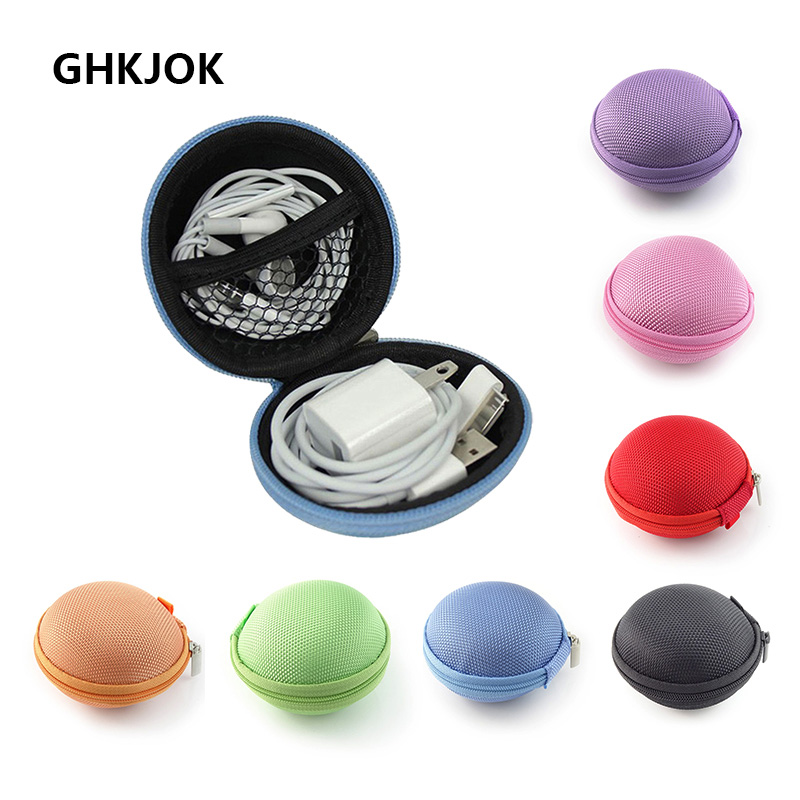 Mini Round Headphone Earphone Case EVA Protector Charger USB Storage Travel Bag For SD Memory Card Key Carrying Organizer Case