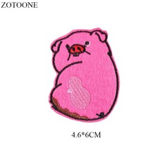 ZOTOONE Iron on Cute Red Pig Patch for Clothing T-shirt Badges Heat Transfer Diy Applique Embroidered Applications Fabric G