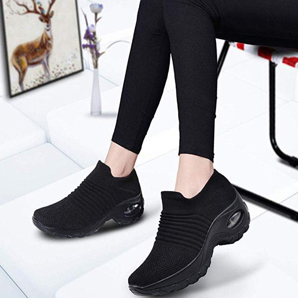 Women Walking Shoes Running  Mesh Breatnable Shoes Fashion Platform Slip-On Sneaker Air Cushion Gym Modern Dance Shoes Men