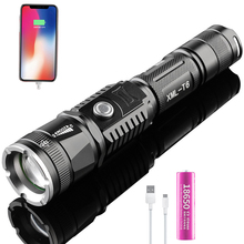 цена на Super bright flashlight Multi-function usb rechargeable Retractable zoom five mode flashlight With charging treasure function