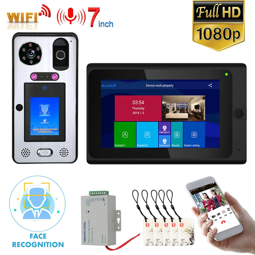 7 Inch  Wifi Wireless Face Recognition  Fingerprint IC  Video Door Phone Doorbell Intercom System With Wired 1080P Camera,Suppor