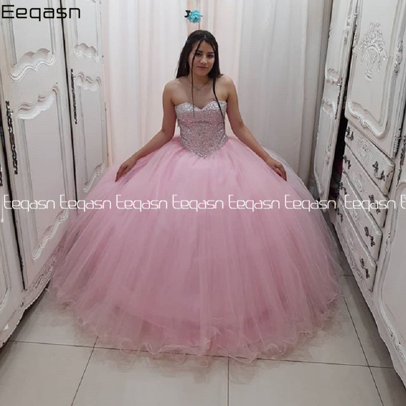 Eeqasn Pink Rhinestones Quinceanera Dresses 2020 Lace up Back 2 in 1 Vestido 15 anos Princess Sweet 16 Dress Pageant Gowns image