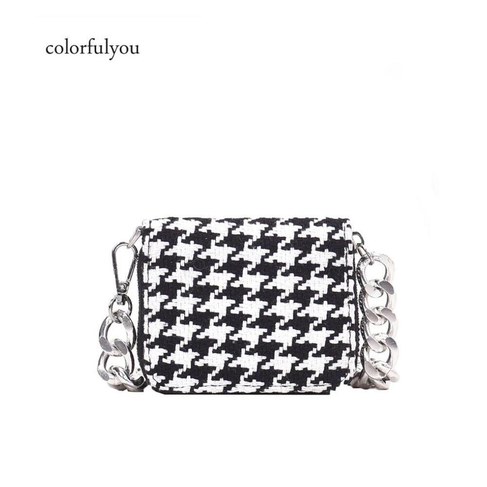 Vintage Mini Wool Handbag Women Shoulder Bag Black And White Plaid Pattern Messenger Bag For Women Chain Bag Ladies Keys Purses