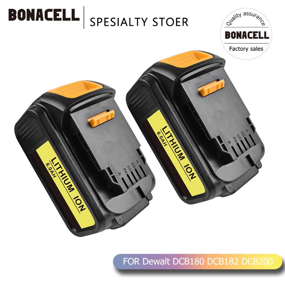Bonacell 6000mAh 18V for Dewalt Power Tool Battery for DCB180 DCB181 DCB182 DCB201 DCB201 2 DCB200 DCB200 2 DCB204 2 L50 Replacement Batteries     - title=
