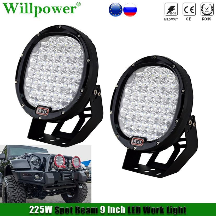 1 par 9 polegada 225w redonda led farol luz de trabalho para jeep jk wrangler fora da estrada suv 4x4 caminhão captador holofotes condução lâmpada