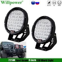 1 Pair 9 inch 225W Round LED Headlight Work Light For Jeep JK Wrangler Off Road SUV 4X4 Truck Pickup Spotlights Driving Lamp