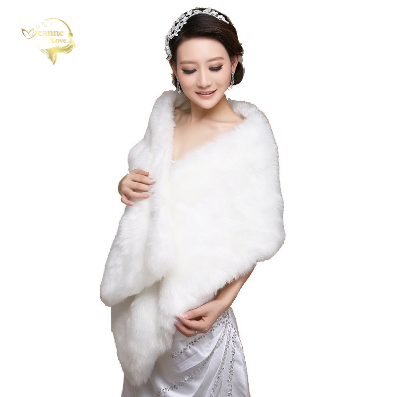 New Wedding Bolero Outerwear Wedding Accessories Urged Wrap Bride Formal Winter Cape Bride Fur Shawl Wedding Jacket Wrap OJ00171