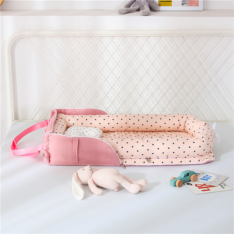 Portable Baby Nest Bed With Pillow Cushion Newborn Crib Travel Bed For Outdoor Infant Sleeping Nest Basket Bassinet ZT47