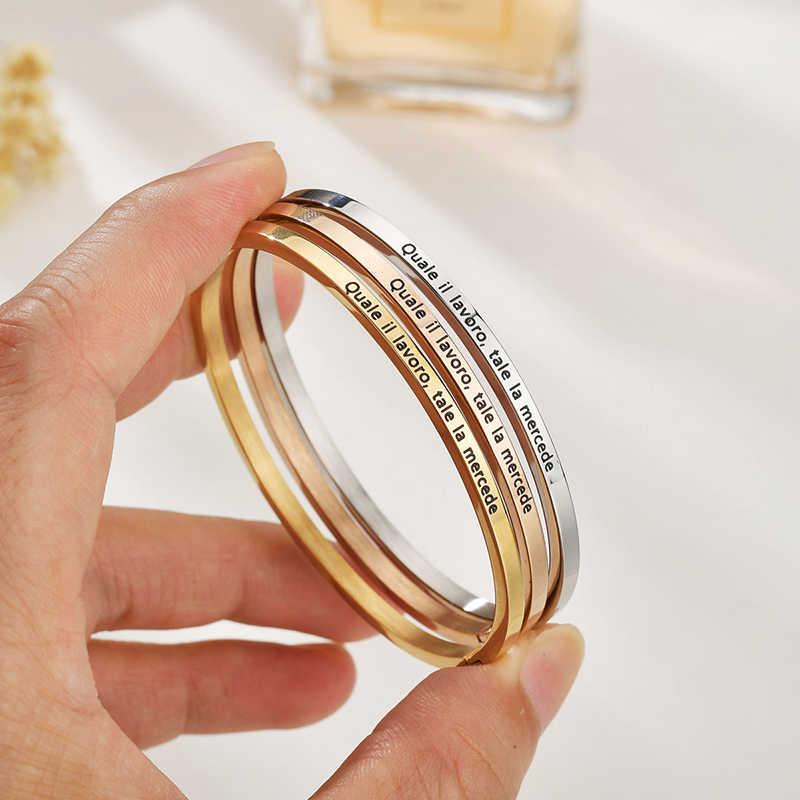 ELSEMODE 20 styl włochy przysłowie list szczęście zachęcić bransoletka opaska ze stali nierdzewnej prezent dla kobiet dziewczyna prezent