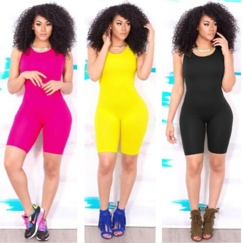 Women Sleeveless Yoga Playsuit Sport Fitness Workout Backless Seamless Solid Skinny Suits Breathable Shorts Running Suit