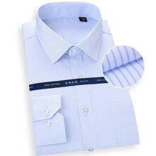 טהור כותנה חולצה גדולה עבור גברים ארוך שרוול פסים מוצק פורמליות איש של חולצות 8Xl לבן כיכר צווארון נוח בגדים