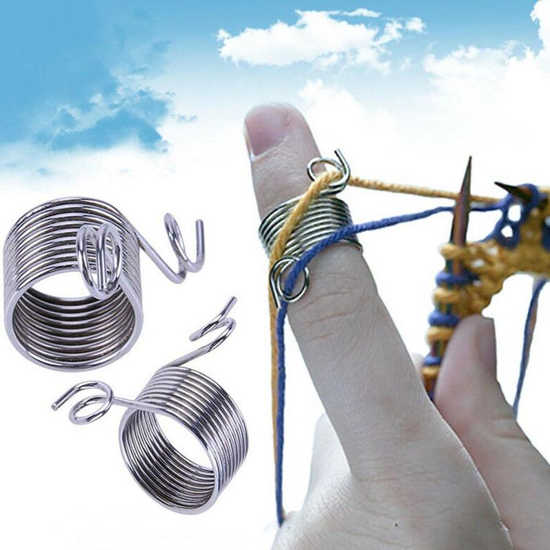 20 PCS Stainless Steel Wire coil Spring Guide Hand Knitting sweater cover finger lead ring Knitting Gadget