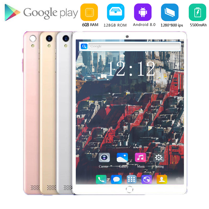 Hight Capacity 128G Global Bluetooth Wifi Android 8.0 10.1 Inch Tablet Octa Core 6GB RAM 64GB 128GB ROM Dual SIM Cards Tablet 10
