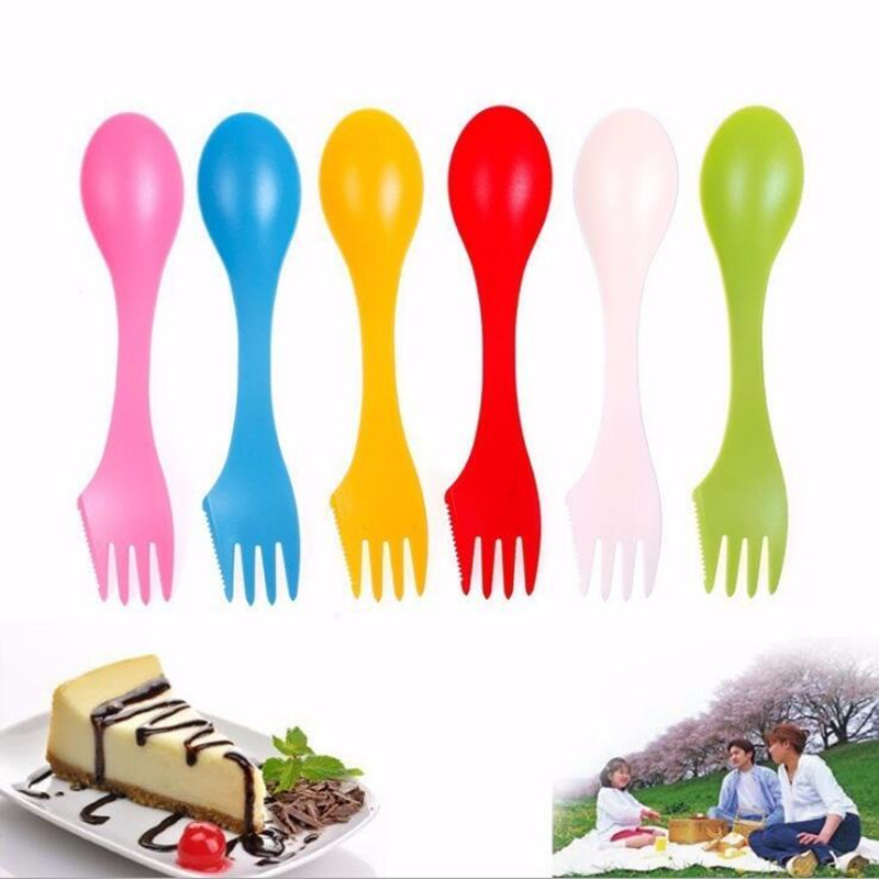 3 In 1 Spoon Fork Knife Outdoor Travel Camping Hiking Picnic Utensils Plastic Spork Combo Travelling Gadget Cutlery Tableware