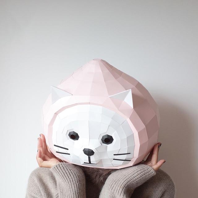 מסכת ראש אוריגמי - קיטי 2