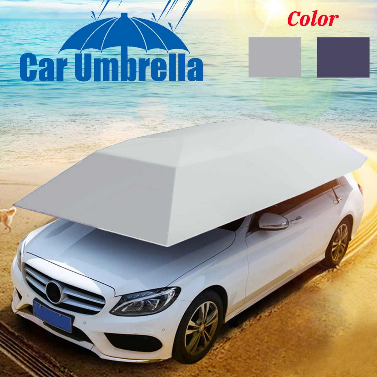 Outdoor Car Vehicle Tent Car/Picnic Umbrella Windproof Buttons Oxford Cloth Sun Shade Umbrella Auto Car Cover 4*2.1m(No Bracket)