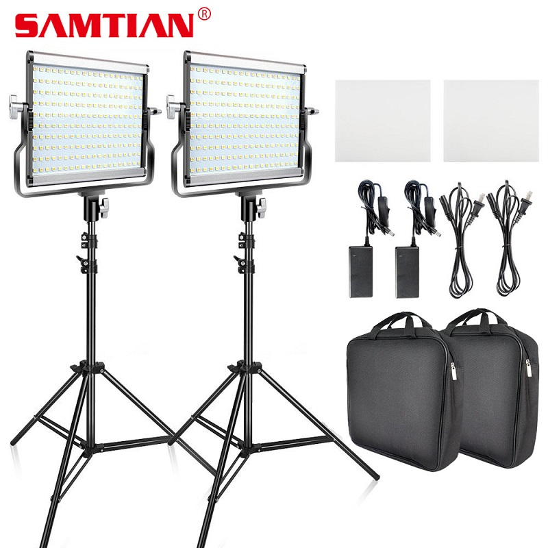 SAMTIAN Video Light <font><b>L4500</b></font> 2 Kit panel light Dimmable 3200K 5500K with tripod for studio YouTube photography lighting LED light image