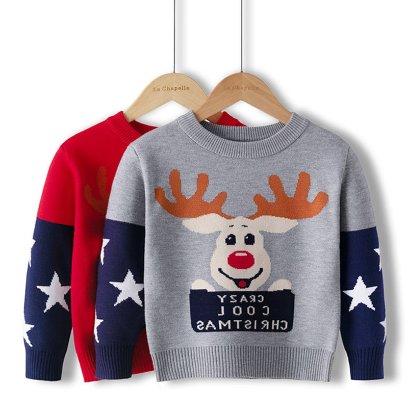 Christmas Clothes Autumn Winter Children's Gift Children'S Baby O-Neck Christmas Cartoon Deer Knitted Kids Girls Boys Sweaters