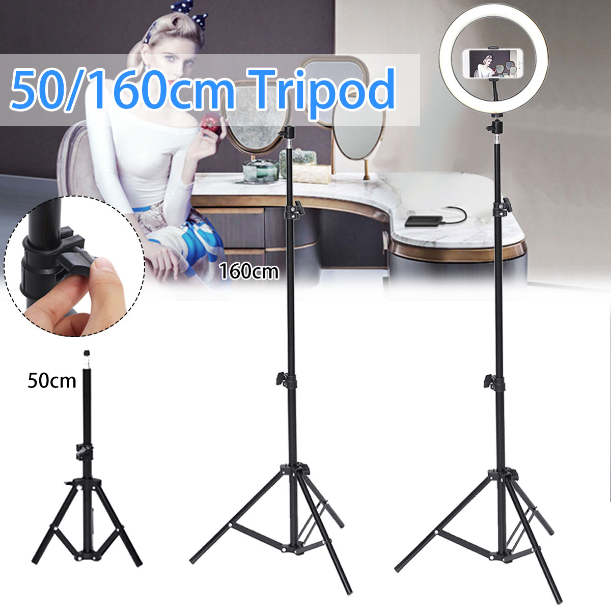 160/50cm Auminum Alloy Photography Camera Tripod Light Stands Phone Holder For Makeup Video Live Photography Studio Camera Photo