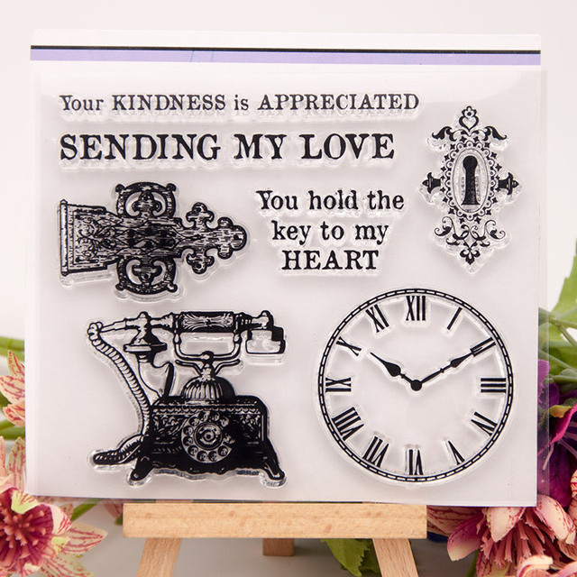 NCraft Clear Stamps N1018 Scrapbook Paper Craft Clear stamp scrapbooking Clock