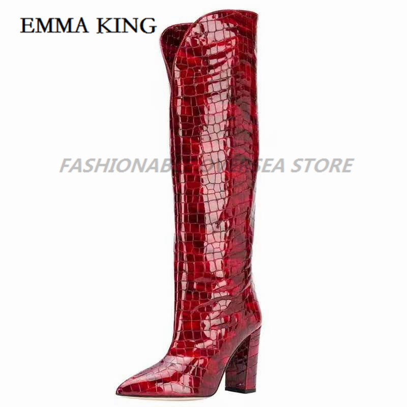 Sexy Crocodile Skin Leather Over the Knee Boots Pointed Toe Chunky Heels Thigh High Boots Sexy Purple Long Boot for Woman 2020 - 3