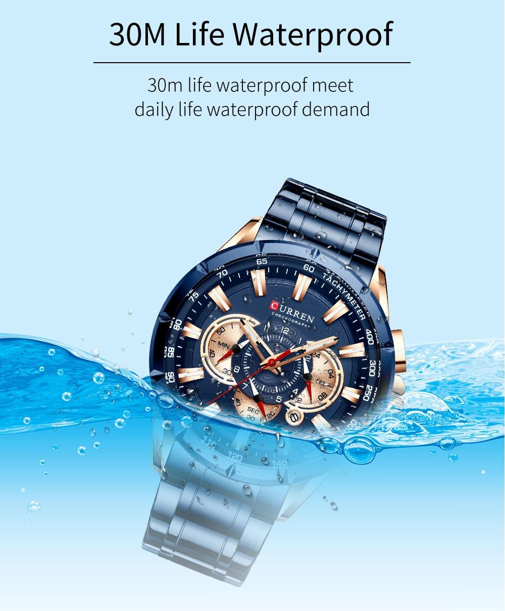 H481d2a2df4154deaa00d102d4972dc377 CURREN Wrist Watch Men Waterproof Chronograph Military Army Stainless Steel Male Clock Top Brand Luxury Man Sport Watches 8363