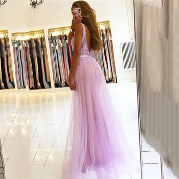 V Neck Mermaid Beaded Applique Evening Dresses Sexy Backless Purple Tulle Prom Gowns With Detachable Skirt vestidos de noite gorgeous coral mermaid prom 2019 new v neck luxury crystal tulle beaded backless sequin long formal gowns bridesmaid dresses