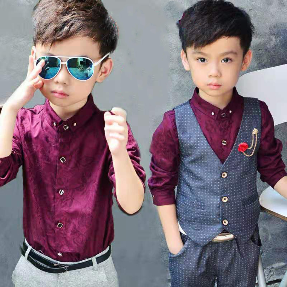 Cute Kids Boys Clothing Shirt and Vest Jeans Sets for 2 to 5 Years Toddler Boy