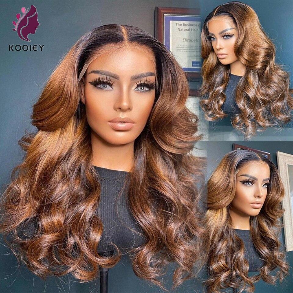 Ombre marrom frente do laço perucas de cabelo humano 180% corpo brasileiro ondulado remy cabelo 13x6 perucas do laço ombre marrom escuro pré arrancado peruca do laço