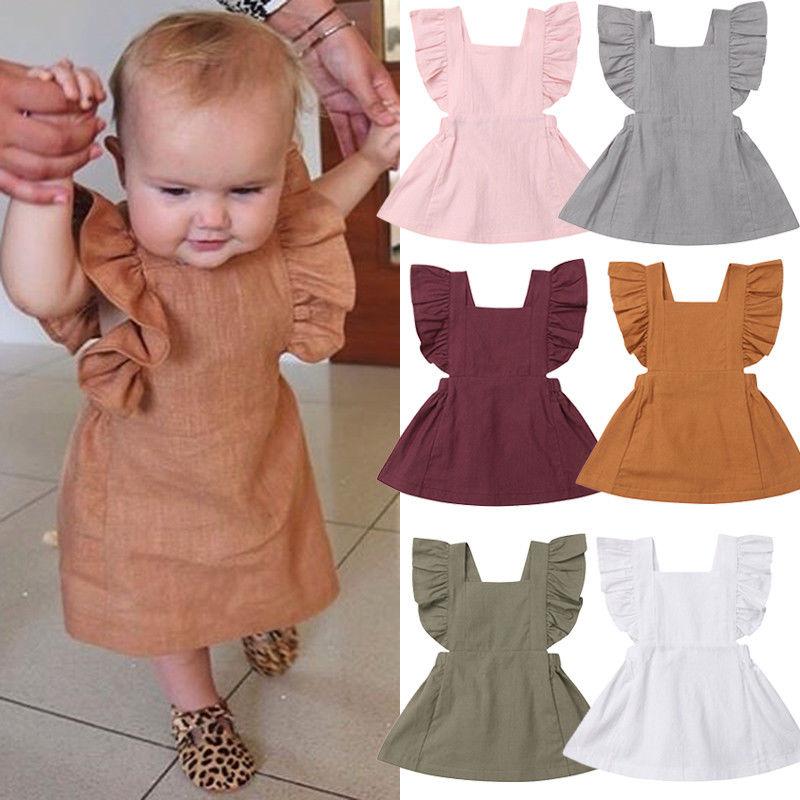 Toddler Kids Baby Girl Solid Color Ruffle Princess Party Dress Sundress Sleeveless High Waist Lovely Girls Mini Dress