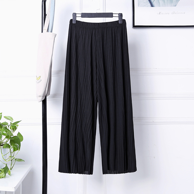 Pants Loose Pants Culottes Women's High-waisted Capri Pants Loose-Fit Versatile Chiffon Pleated Students Summer Korean-style