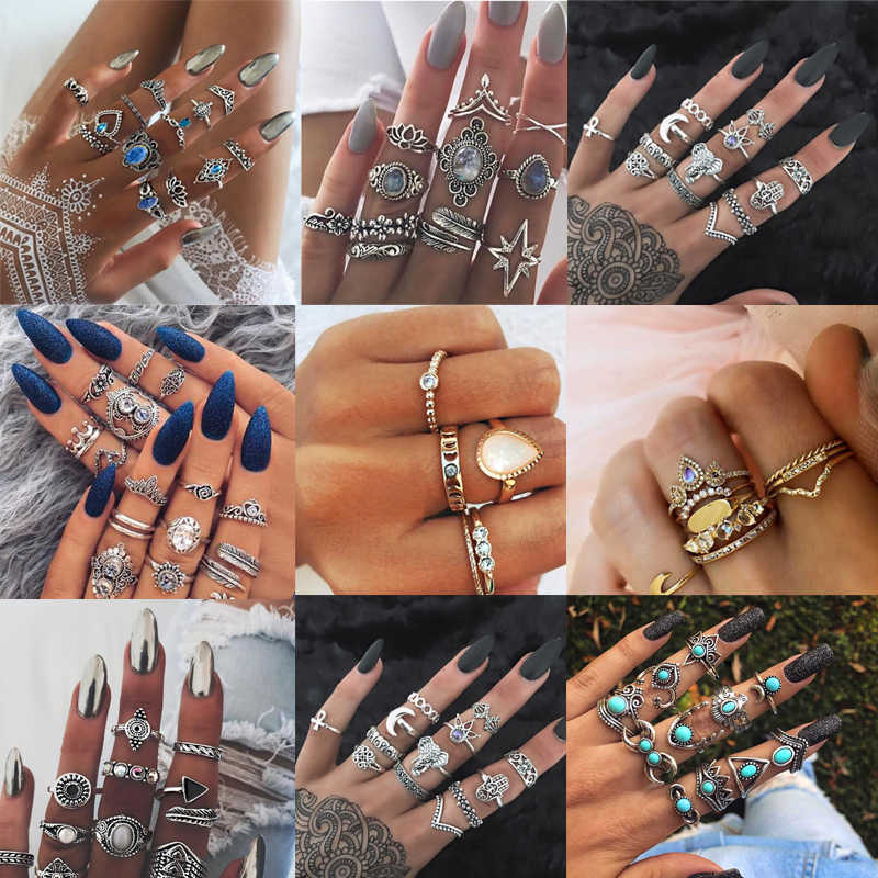 New 15pcs/set Hollow Out Charms Lotus Flower Crystal Midi Knuckle Ring Set for Women Vintage Geometric Butterfly Rings Jewelry