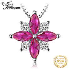 JewelryPalace Flowers 0.85ct Created Ruby Pendant Necklace 925 Sterling Silver Romantic Jewelry Not Include A Chain