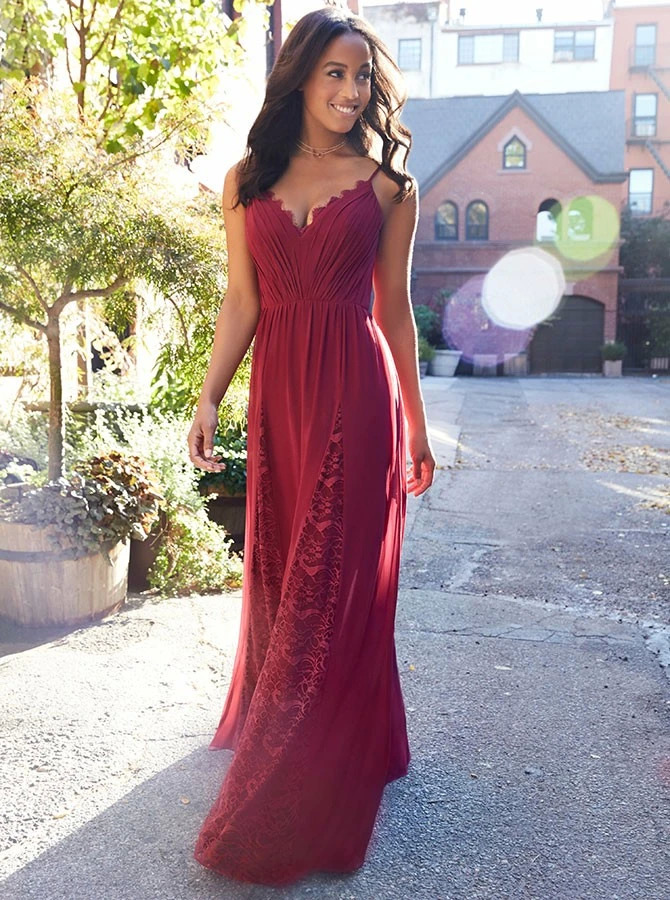 2020 Long Bridesmaid Dresses Party Dress Formal Gowns Lace Chiffon Women Special Occasion Dress Custom-made
