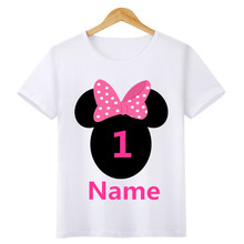 Baby Boy Girl Birthday Cartoon T Shirt Kids Cotton Tops Size 1 2 3 4 5 6 7 Year Children Clothing T-shirt Summer Tees for Gift(China)