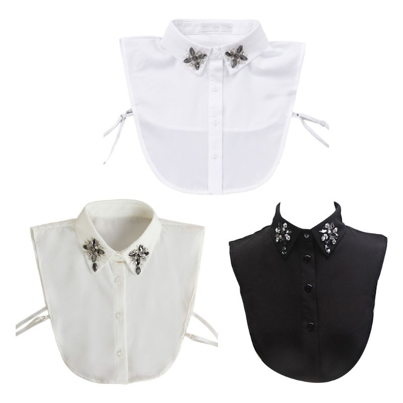 Sweet Doll Jewelry Lapel Fake Collar Water Drop Rhinestone Flower Half-Shirt