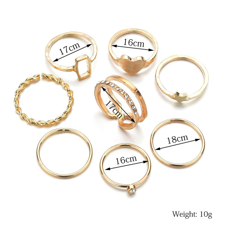 40 Styles Vintage Female Rings Gold Color Star Heart Ring Set Women Joint Ring Wedding Party Jewelry Accessories 3