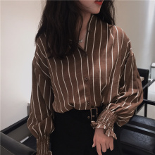 Autumn Vintage Shirts Women Striped Slim Stand collar Casual Ladies Classic Style Female Loose Clothing