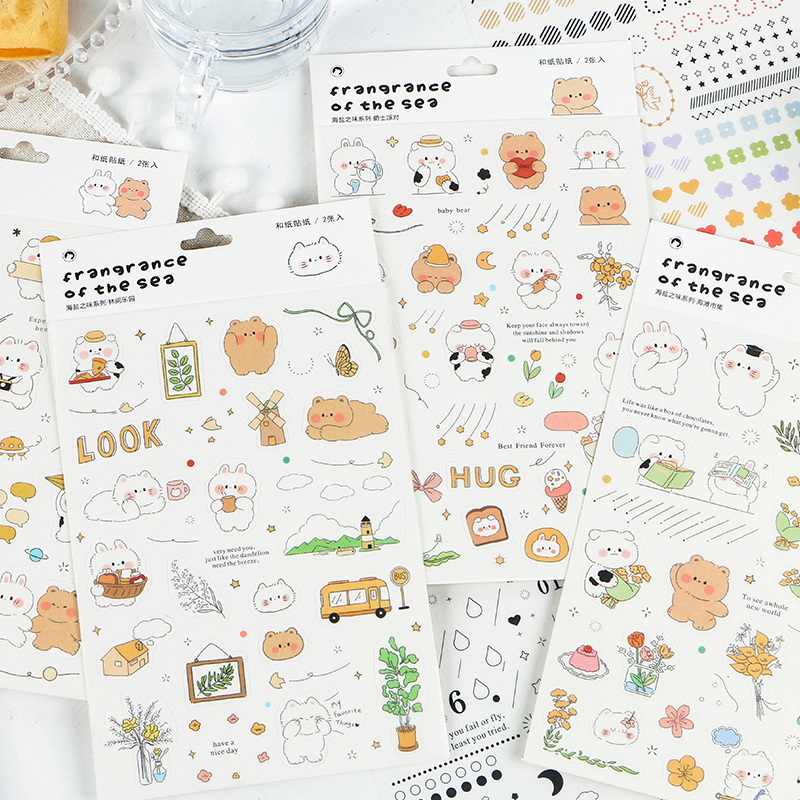VanYi 4 Designs Sea Salt Deco Washi Kawaii Creative Decoration Stationery Stickers Scrapbooking Plan