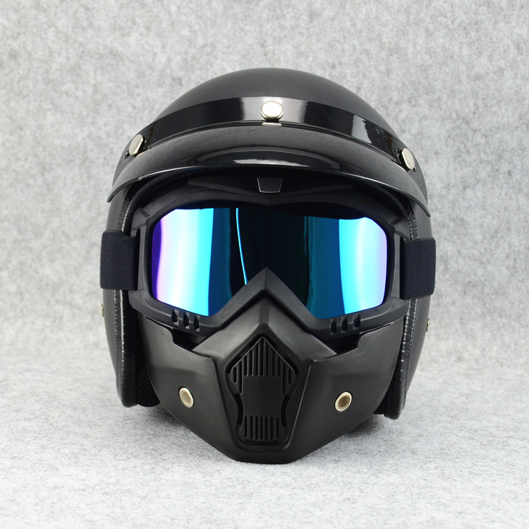 High-quality 3/4 helmet windproof sun glasses, 3/4 helmet combination mask, off-road helmet goggles, multi-color sun visor